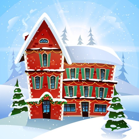 Christmas illustration with fabulous snowy red cottage at winter landscape and firs flat illustration