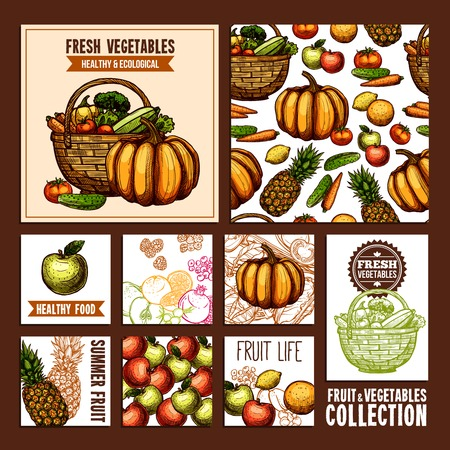 useful: Fruits And vegetables cards for useful and healthy nutrition in retro style illustration Illustration