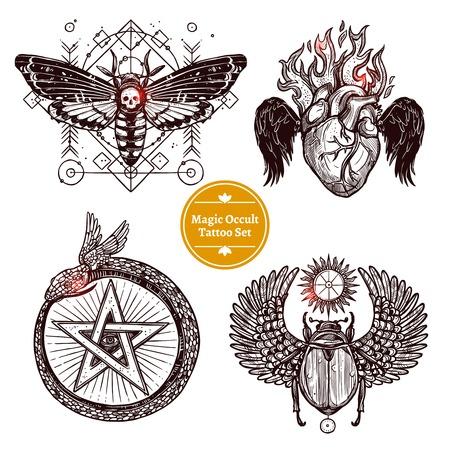 Occult Tattoo Sketch Concept. Occult Tattoo Hand Drawn Set. Magic Modern Tattoo Illustration. Magic Occult Tattoo Symbols. Magic Occult Tattoo Design Set.