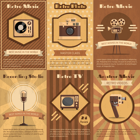Retro poster set with vintage music radio and tv devices in brown tones illustration