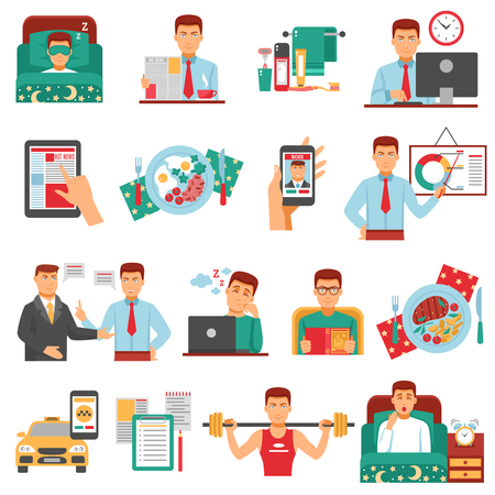 Man daily routine icon set with a busy man during the day dream sports food work for example illustration Vectores