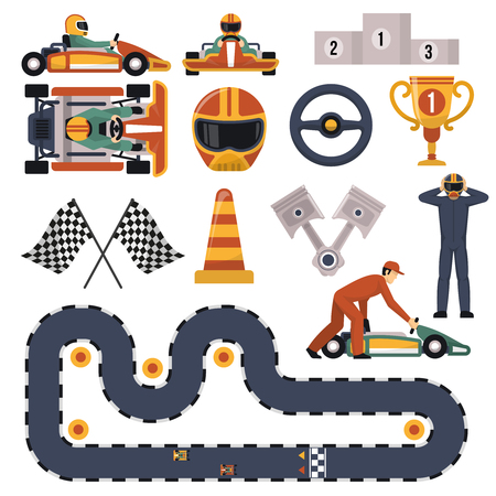 Flat design karting motor race track apparel equipment and drivers set isolated on white background illustration