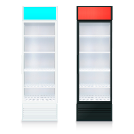 glass shelves: Upright empty fridges template with glass door and shelves on white background isolated illustration