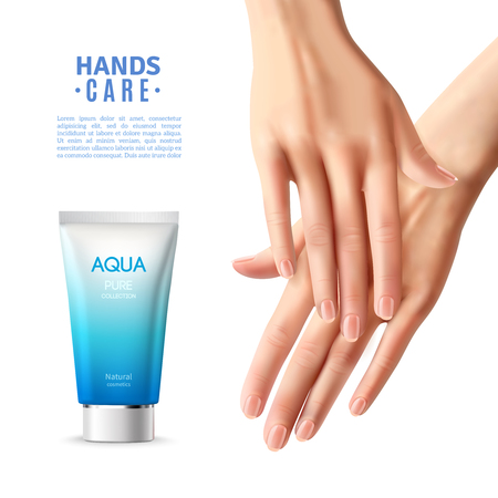 anti age: Hand care moisturizing anti age cream for women advertisement realistic informative poster with beautiful fingers illustration