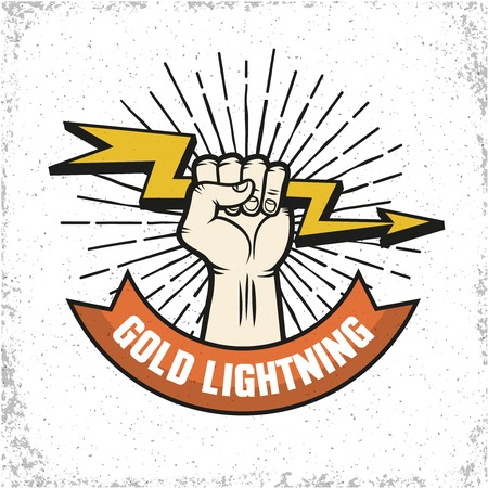 badge with ribbon: Flat emblem for company with human hand holding gold lightning on textured background illustration
