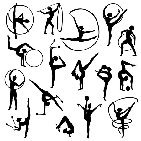 lithe: Set of black silhouettes of gymnast female figures with balls and tapes on white background isolated illustration