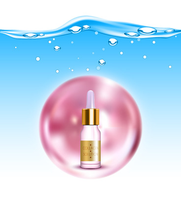 elasticity: Anti-aging natural gold collagen production solution for skin hydration and elasticity background poster realistic illustration Vectores