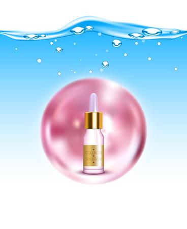 elasticity: solución de la producción de colágeno de oro natural para la hidratación de la piel y la elasticidad de fondo del cartel ilustración realista anti-envejecimiento