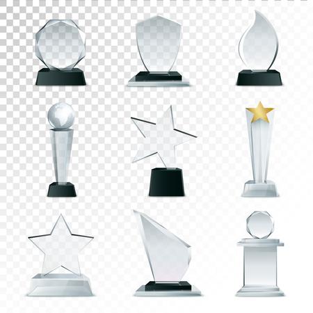 Moderne Glas Cup Trophäen und Herausforderung Preise Seitenansicht realistische Symbole Sammlung gegen transparente Hintergrund isoliert Abbildung Standard-Bild - 65372157
