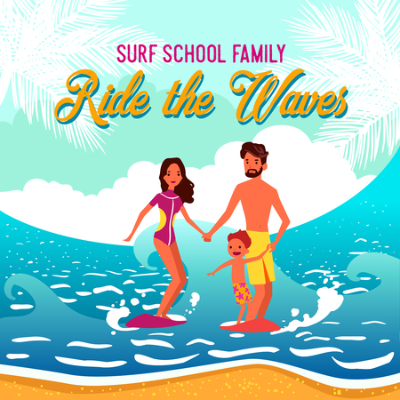 sunny beach: Surf school illustration of young family with little child riding the waves near sunny sandy beach