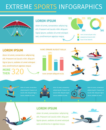Popular extreme sports list information equipment products market sponsors events and developments flat infographic poster illustration Illustration