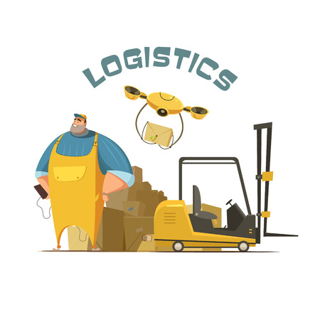 Logistics retro cartoon concept with worker loader and boxes illustration