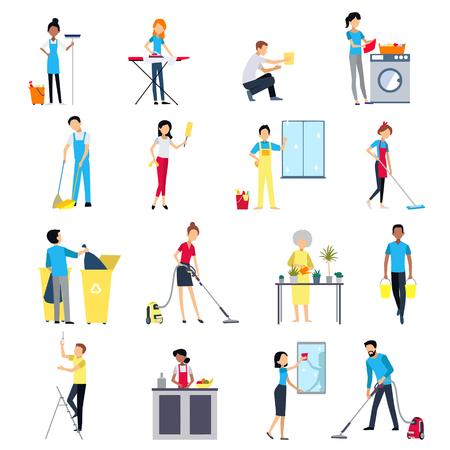 Reinigung Menschen flach farbige Icons Set mit Männern und Frauen Haus arbeiten Reinigung Waschen isoliert Illustration