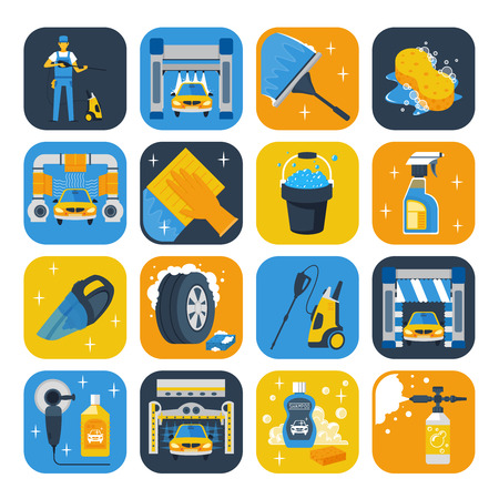 Car wash service symbols flat icons collection with windshield squeegee soap cannon and shampoo isolated illustration Illustration