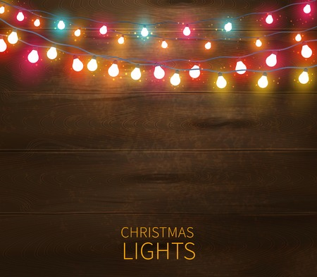 glowing: Christmas lights poster with shining and glowing garlands on wooden background illustration