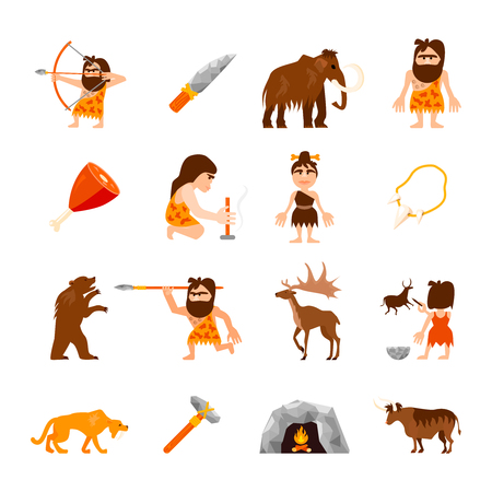 Stone age icons set of caveman animals bonfire weapons meat and charm isolated illustration Illustration
