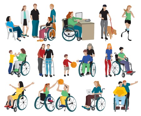amputation: Disabled people icons set with wheelchair and sports symbols flat isolated illustration