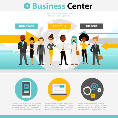 contact information: Business training for senior leaders web page infographics with contact information and professional support flat illustration