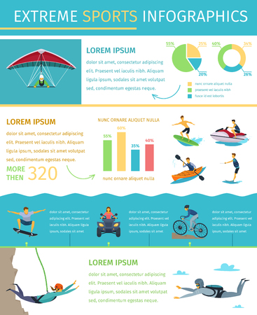 Popular extreme sports list information equipment products market sponsors events and developments flat infographic poster vector illustration Illustration