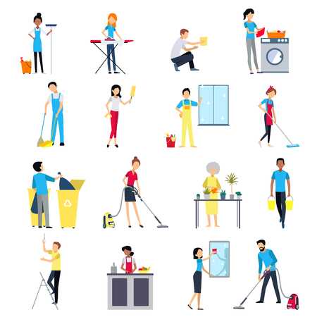 Cleaning people flat colored icons set with men and women house working cleaning washing isolated vector illustration