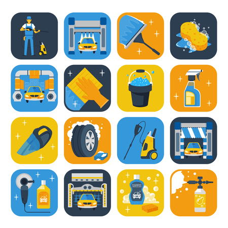 self: Car wash service symbols flat icons collection with windshield squeegee soap cannon and shampoo isolated vector illustration