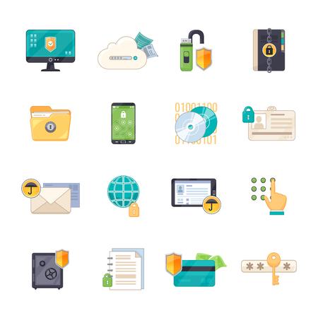 Caja de seguridad de almacenamiento de datos personales y la información en línea de escudo de protección del software de intercambio iconos planos establece la ilustración del vector aislado