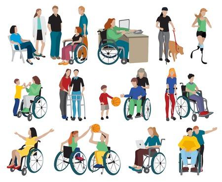 disabili Set di icone con sedia a rotelle e sportivi simboli piatta illustrazione vettoriale isolato Vettoriali