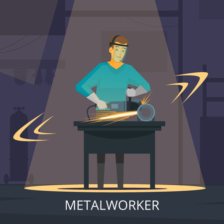Metalworker production process of forming cutting and polishing metal workshop demonstration retro flat poster vector illustration Illustration
