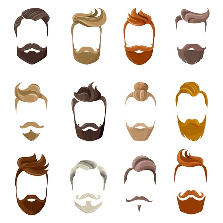 Colorful male silhouette faces with hispter beard and hair styles isolated on white background flat vector illustration