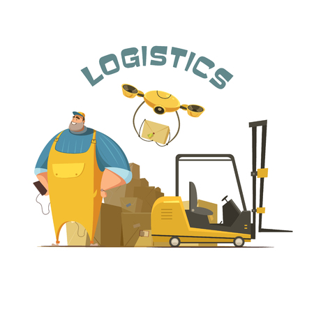 Logistics retro cartoon concept with worker loader and boxes vector illustration Illustration