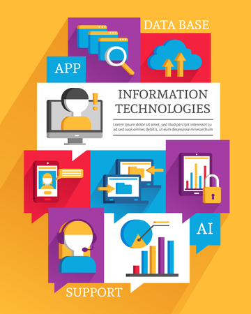 operators: IT poster with flat colored elements promoting operators support cloud technologies data exchange and smartphone apps vector illustration