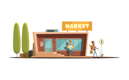Local market building with customer trees and dog cartoon vector illustration Illustration