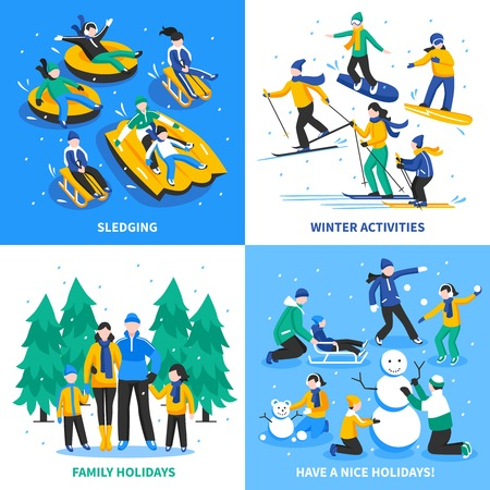 sledging: Winter activity 2x2 design concept with happy kids and parents skiing sledging skating flat illustration