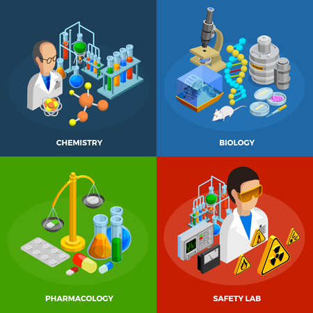science symbols: Science concept icons set with chemistry biology and pharmacology symbols isometric isolated illustration