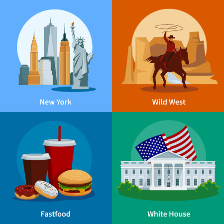 Usa Flat Icons Set With American National Symbols And Attractions