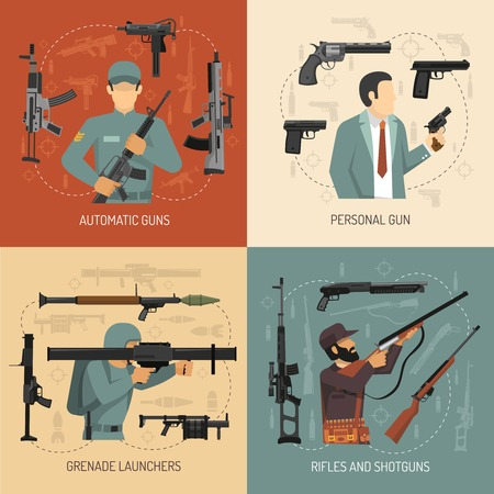 rifleman: Armed men with weapons guns grenade launchers and pistols 2x2 flat design concept isolated illustration
