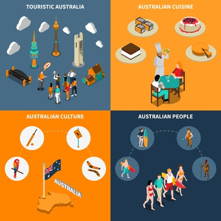australian culture: Australian culture for travelers 4 isometric icons square poster with  guided city tours and cuisine isolated illustration