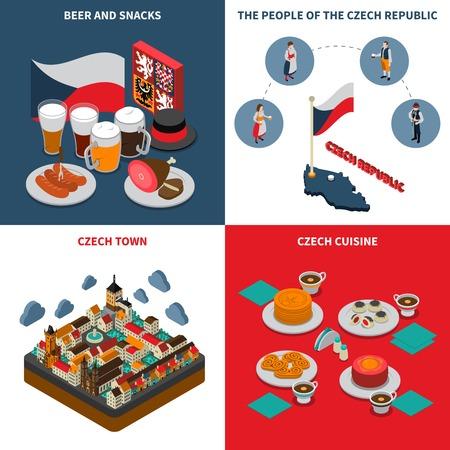 Tschechische Republik für Touristen 4 isometrische Symbole Quadrat Plakat mit Bier Wurst Prag astronomische Uhr isoliert Illustration