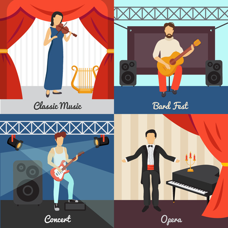 stage props: Theatre concept icons set with bard fest and opera symbols flat isolated vector illustration Illustration