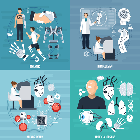 bionics: Modern bionics template with different achievements of medical technologies in flat style vector illustration