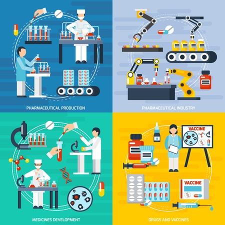 Farmacéuticos Iconos del concepto de la producción que con los símbolos de la industria farmacéutica ilustración aislada plana