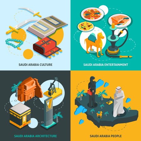 touristic: Saudi Arabia touristic isometric concept with arabian cultural elements sights and amusements in flat style isolated illustration