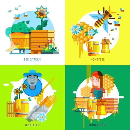 Colorful beekeeping concept of honey elements and icons in flat style isolated illustration Illustration