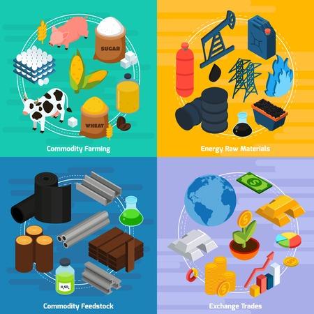 Commodity koncepcji ikony ustaw z hodowli towarem i surowców symboli odizolowane ilustracji izometryczny