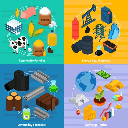 Iconos del concepto de producto recogido con los productos básicos agrícolas y materias primas símbolos isométrica ilustración aislados