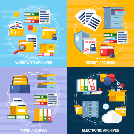 availability: Archive concept icons set with electronic and paper archives symbols flat isolated illustration Illustration