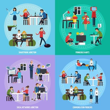 convivencia familiar: Las personas obsesiones plantilla con diferentes adicciones y socical persona y problemas en la ilustración de estilo plano Vectores