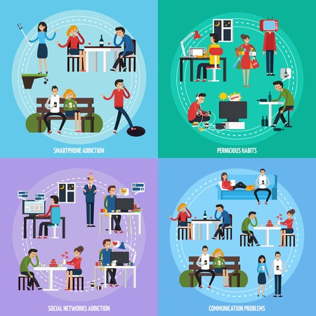People obsessions template with different socical and person addictions and problems in flat style illustration