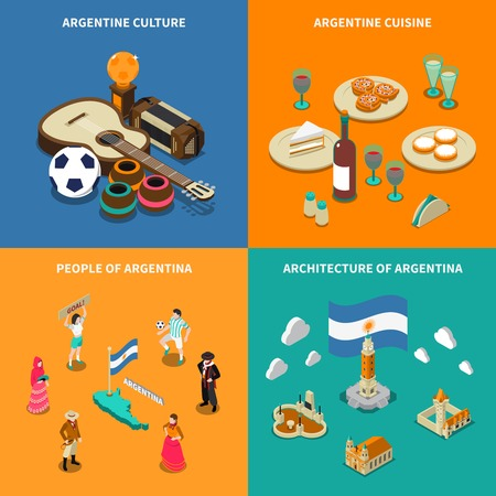 latin: Argentina culture traditions and national  cuisine dishes for tourists 4 isometric icons square poster isolated illustration