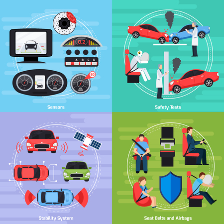 Car safety systems template with crash tests and equipment of auto conditions control isolated illustration Illustration